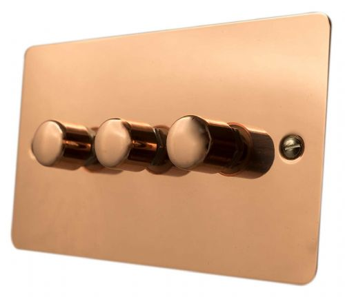 G&H FBC13 Flat Plate Bright Copper 3 Gang 1 or 2 Way 40-400W Dimmer Switch